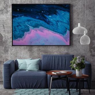 """Интерьерная картина жидким акрилом """"Розово-голубая абстракция"""""""