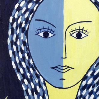 Портрет. Берегиня, хранительница, женщина. Украина. Живопись, акрил 15x20 см. Желто-синий цвет