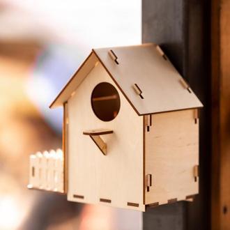 Скворечник с кормушкой с надежным креплением на окно с окошком для наблюдения за птицами
