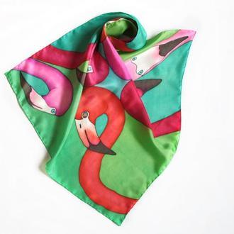 Шелковый шейный платок с фламинго, женский платок ручной росписи, батик бандана