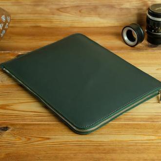 Чехол для MacBook с войлочной подкладкой на молнии, матовая кожа Grand, цвет зеленый