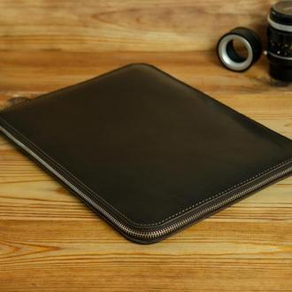 Чехол для MacBook с войлочной подкладкой на молнии, кожа итальянский краст, цвет кофе