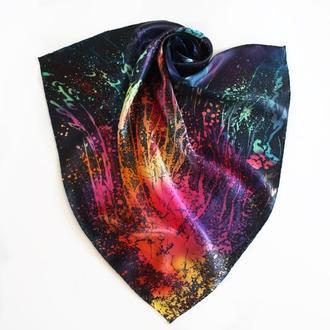 Атласный темно-синий платок ручной росписи, шелковый шейный батик платок с травами, арт бандана