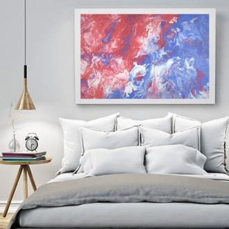 """Интерьерная картина жидким акрилом """"Сиренево-красная абстракция"""""""