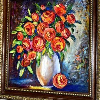 Ваза з квітами, картина у рамі 40х40см