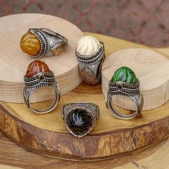 Старинное кольцо из серебра знати визиря императора из Великолепного века ручной работы