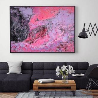 """Интерьерная картина жидким акрилом """"Розовая абстракция"""""""