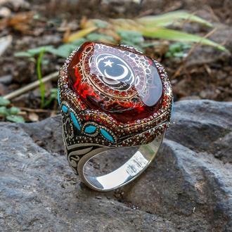 Тяжелый перстень унисекс серебро прозрачной ювелирной эмалью винтажный рисунок в мусульманском стиле