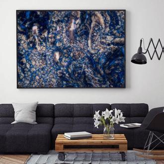 """Интерьерная картина жидким акрилом """"Золотисто-синяя абстракция"""""""