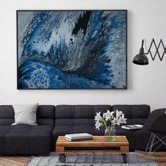 """Интерьерная картина жидким акрилом """"Синие волны"""""""