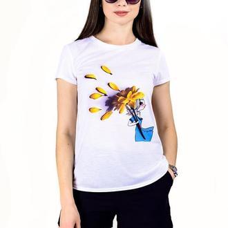 """Женская футболка с принтом """"Девушка с цветком-зонтиком"""" Push IT"""