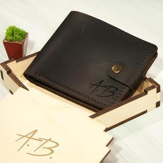 Мужской кожаный кошелек с именной гравировкой, отделение для прав или ID паспорта