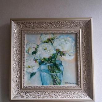 Картина маслом 20×20 див. живопис Півонії в пастельних тонах