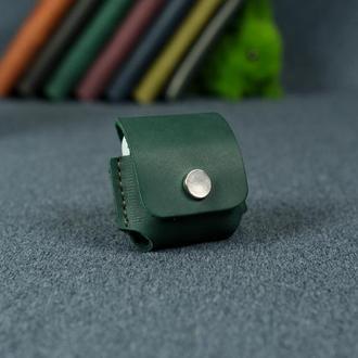 Чехол для AirPods 1, AirPods 2,  винтажная кожа Crazy Horse, цвет зеленый