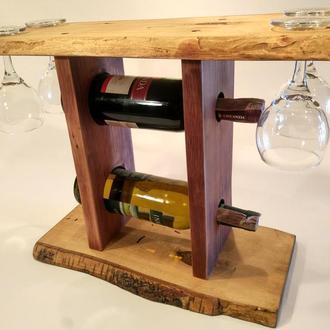 Деревянная полка для вина и 4х бокалов №3