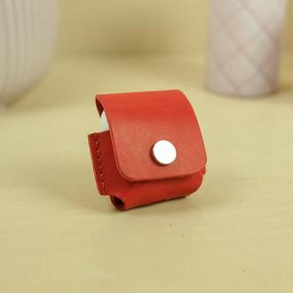 Чехол для AirPods 1, AirPods 2, кожа итальянский краст, цвет красный