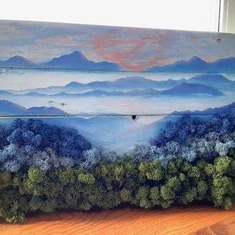 """Картина из стабилизированного мха """"В ожидании  рассвета"""", на дереве, со мхом"""