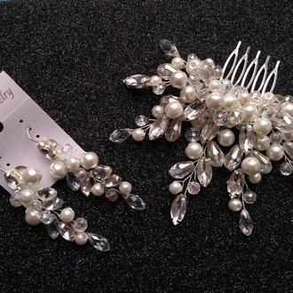 Свадебное украшение для волос, гребешок в прическу, украшение в прическу