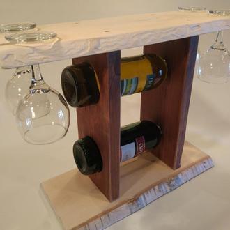Деревянная полка для вина и 4х бокалов №5