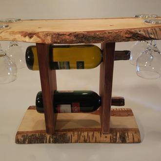 Деревянная полка для вина и 4х бокалов №6