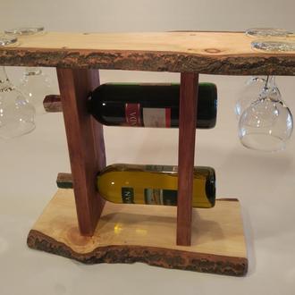 Деревянная полка для вина и 4х бокалов №8