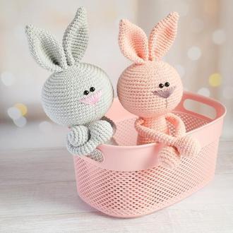 В'язані іграшки зайчики і ведмедики для малюків. М'які іграшки для сну та ігри. Подарунок малюку.