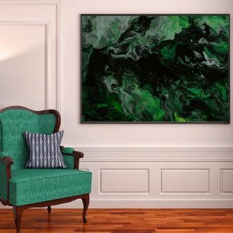 "Интерьерная картина жидким акрилом ""Зелёный дым"""