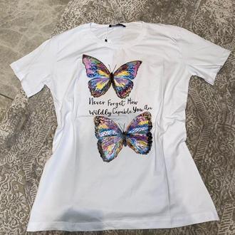 """Женская футболка с принтом """"Две бабочки"""" Push IT"""