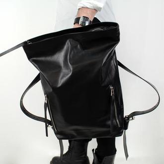 Кожаный рюкзак Tuareg Black, чёрный городской рюкзак в минималистичном стиле с карманом для ноутбука