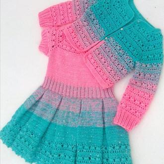 Сукня та болеро в′язані гачком в техніці градієнт