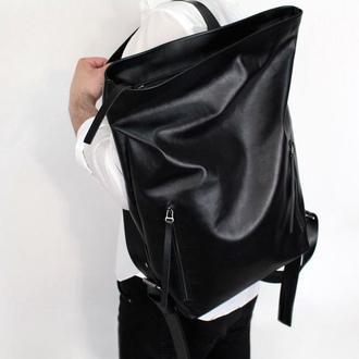 Кожаный рюкзак Tuareg Total Black, чёрный городской в минималистичном стиле с карманом для ноутбука