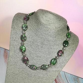 Кольє з Цоизита натуральний камінь, зелений колір і його відтінки \ Sk - 0049