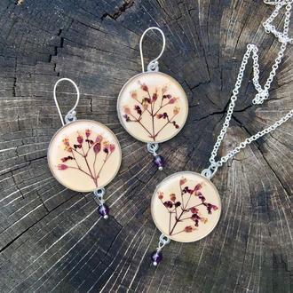Кулон и серьги с цветами гейхеры