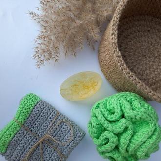 Зеленый набор. Мочалка, полотенце и мыло. Эко набор.