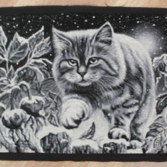 Вишивка кіт на снігу