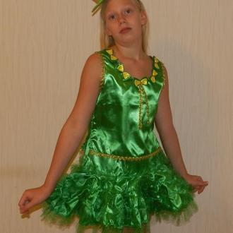 Нарядное, карнавальное зеленое платье