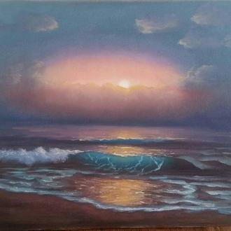 """Картина маслом """"Море на закате""""."""