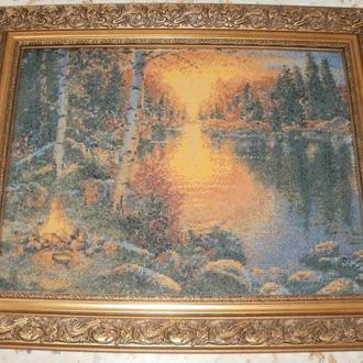"""Вишивка  """"Захід сонця на озері"""""""