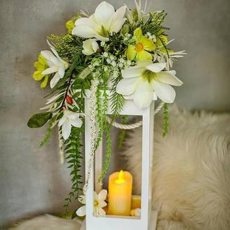Декоративний ліхтар, Ліхтар для декору, Квітковий ліхтар, Квіткова композиція