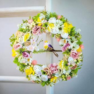 Великодній віночок, Пасхальний вінок на двері, Квітковий вінок, Весняний вінок