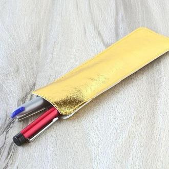 Пенал-карман, кожаный пенал, чехол для ручек. Золото