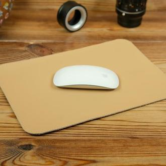 Кожаный коврик для мышки, натуральная кожа Grand, цвет бежевый