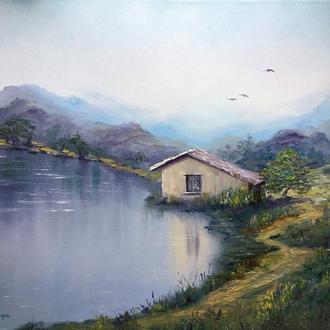 Авторская картина маслом на холсте озеро горы дом