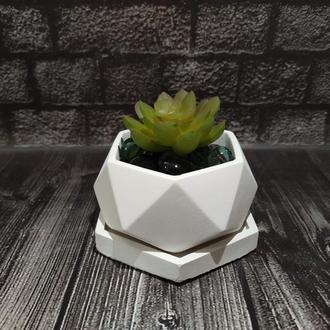Горшок для цветов с подставкой,бетонное кашпо, кашпо под суккулент (Код ДИМЕТРА) белый