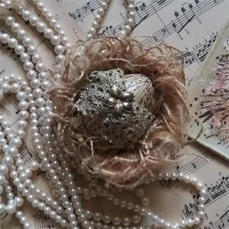 Декоративное пасхальное яйцо в гнезде в викторианском стиле