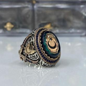 Великолепный перстень из серебра с мусульманской гравировкой мечи полумесяц и звезда