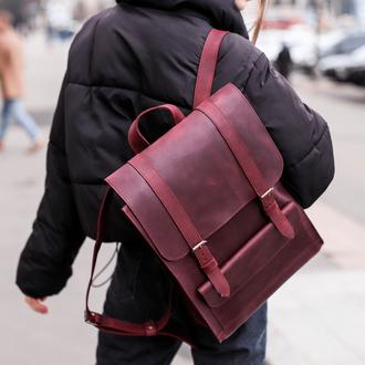 Місткий жіночий рюкзак з натуральної вінтажної шкіри бордового кольору