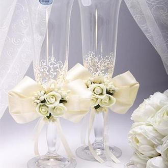 Свадебные бокалы для шампанского ( разные цвета)