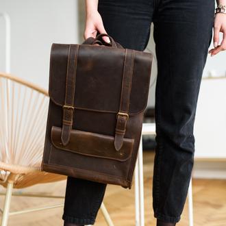 Вместительный женский рюкзак  из натуральной винтажной кожи коричневого цвета