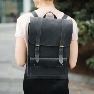 Вместительный женский рюкзак  из натуральной винтажной кожи темно-серого цвета